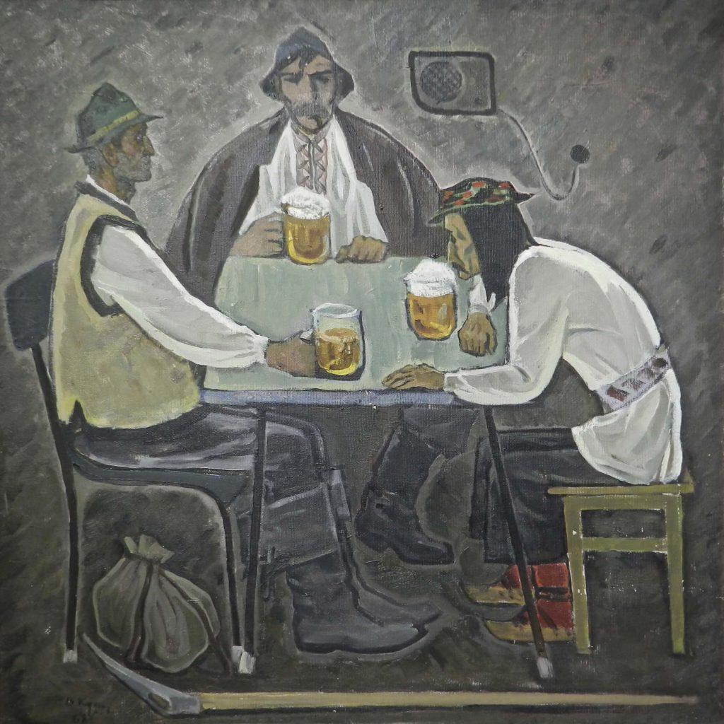 """Веніамін Кушнір """"Пють пиво"""", 77х77"""