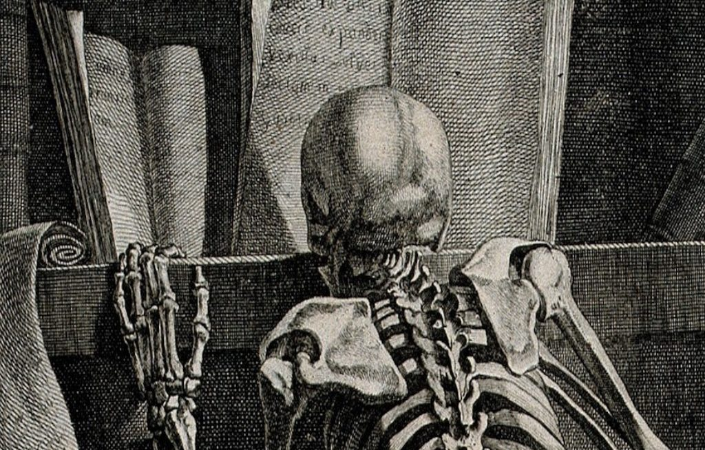 a_kneeling_skeleton_seen_from_behind_reading_a_book_on_a_wellcome_v0008800