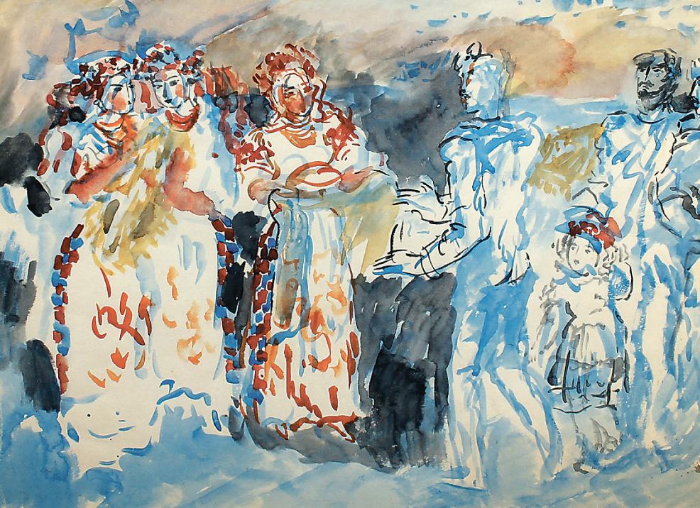 """Лерман З. , Ескіз до картини """"Весілля"""" (ціна продажу - 600$)"""