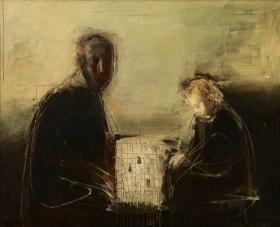 Автопортрет із сином за грою в шахи, олія на полотні