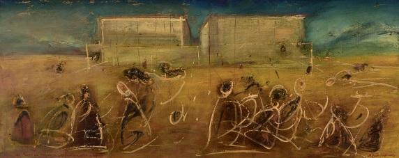 Будівництво палацу (за П'єро ді Козімо), олія на полотні, 60 x 150 см, 2003
