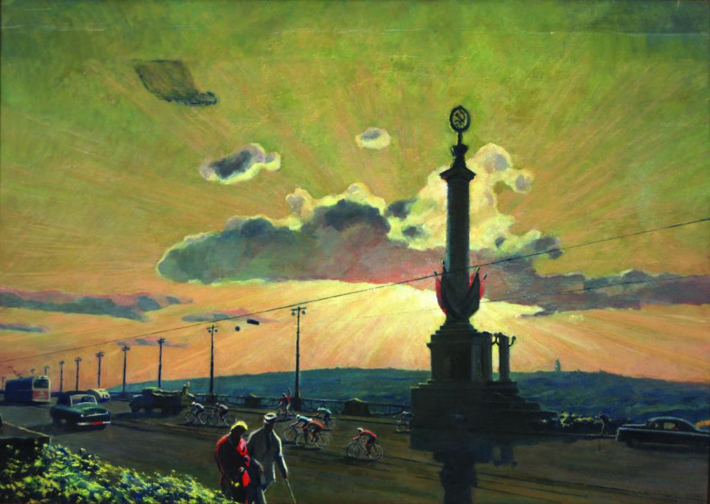 Хвостенко-Хвостов О. Київ. Міст Патона. Полотно, олія. 1954 р.
