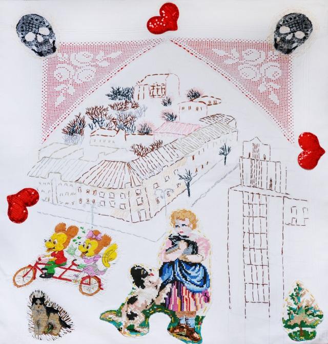 На розі Хрещатика, 2018, текстиль, ручна вишивка