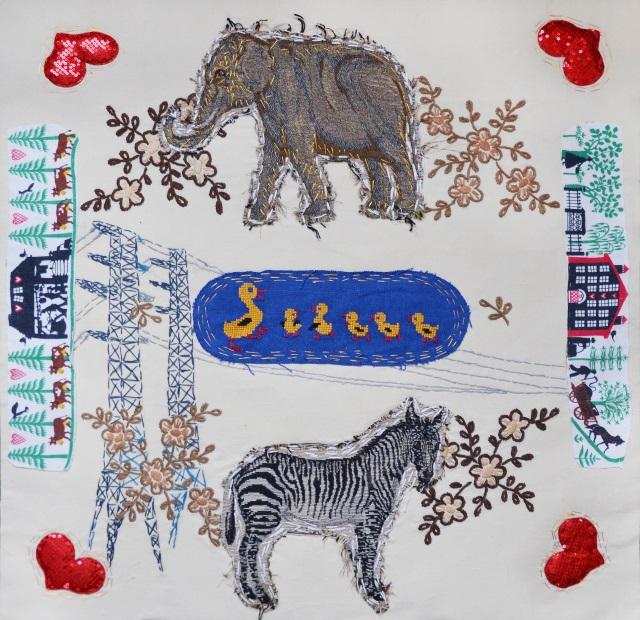 Спека в Осокорках, 2018, текстиль, ручна вишивка