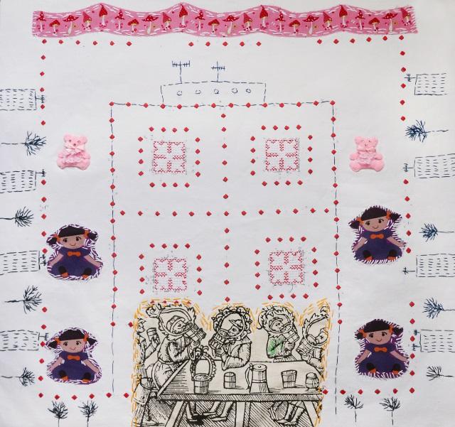 Вихідний на Троєщині, 2018, текстиль, ручна вишивка