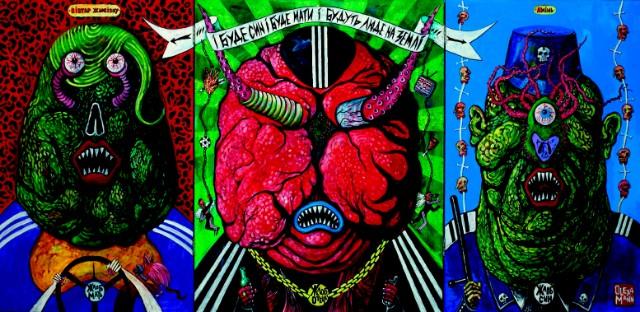 Вівтар жлобізму, з проекту «Жлоб-арт», полотно, акрил, мішана техніка, 120 x 280 см