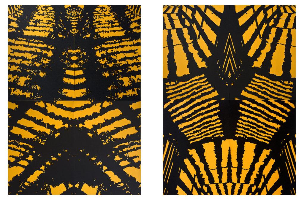 Анна Миронова, Спека, папір, витинання, 200 х 140 см. (кожна), 2014 р.