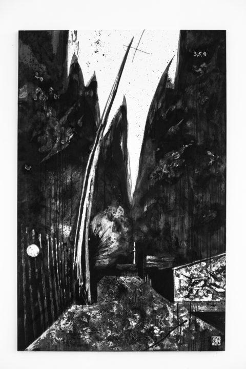 Олекса Манн, «ВЕРТИКАЛЬ», полотно, акрил, сміття з острову Бирючий, 170 х 110 см., 2018