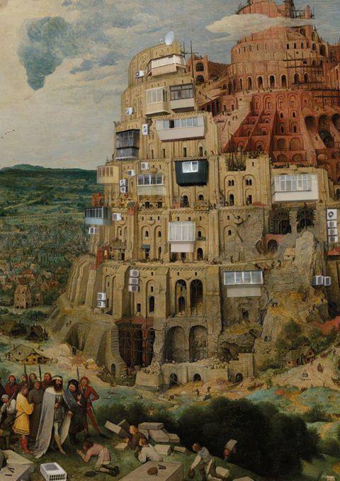 Культові київські балкони на Вавилонській вежі Брейгеля. Автор Оля Музиченко