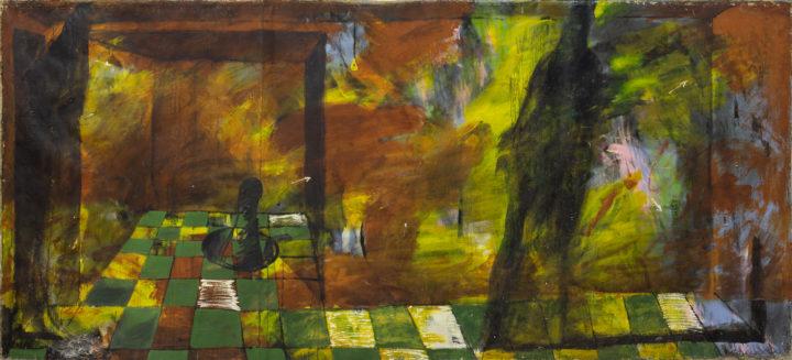 Олег Голосій, Вибухова хвиля жовтої кімнати, 1990, полотно, олія, 200х450 см, надано маєтком художника та галереєю The Naked Room