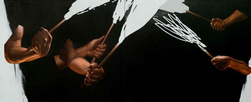 Юрій Коваль, «ПРОМЕТЕЇ», акрил, олія на полотні, диптих, 80 × 160 см., 2019
